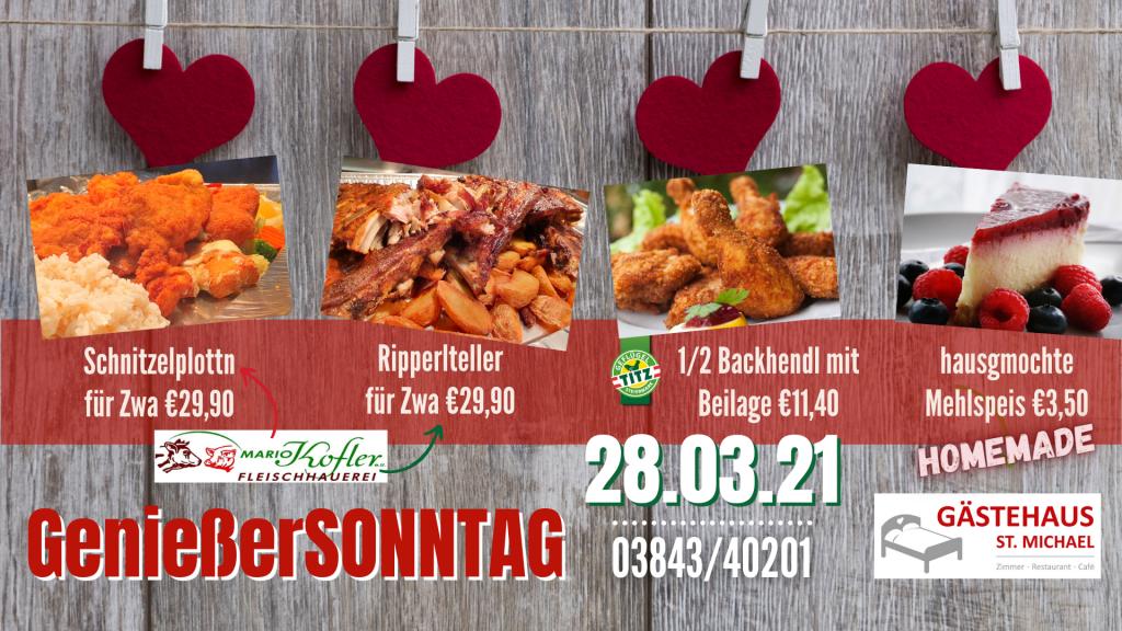 Nächste Aktivitäten: Genießersonntag mit Backhendl, Schnitzel und Ripperl zum Abholen am 28.03.21