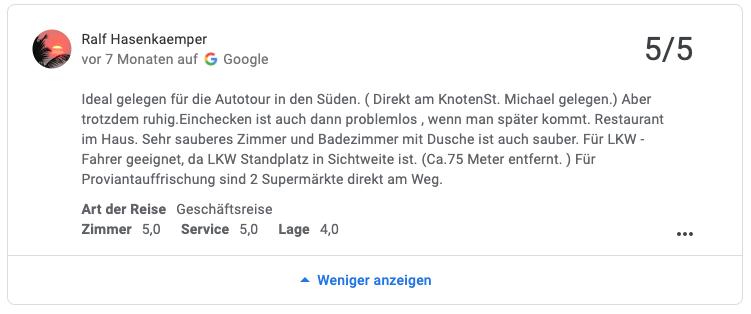 Google Bewertung für die Unterkunft Gästehaus St. Michael