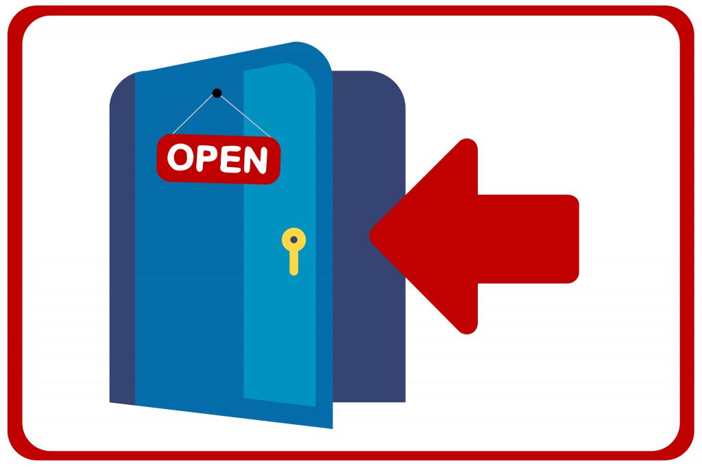 Türen bleiben wenn möglich offen um die Übertragung über Oberflächen zu vermeiden