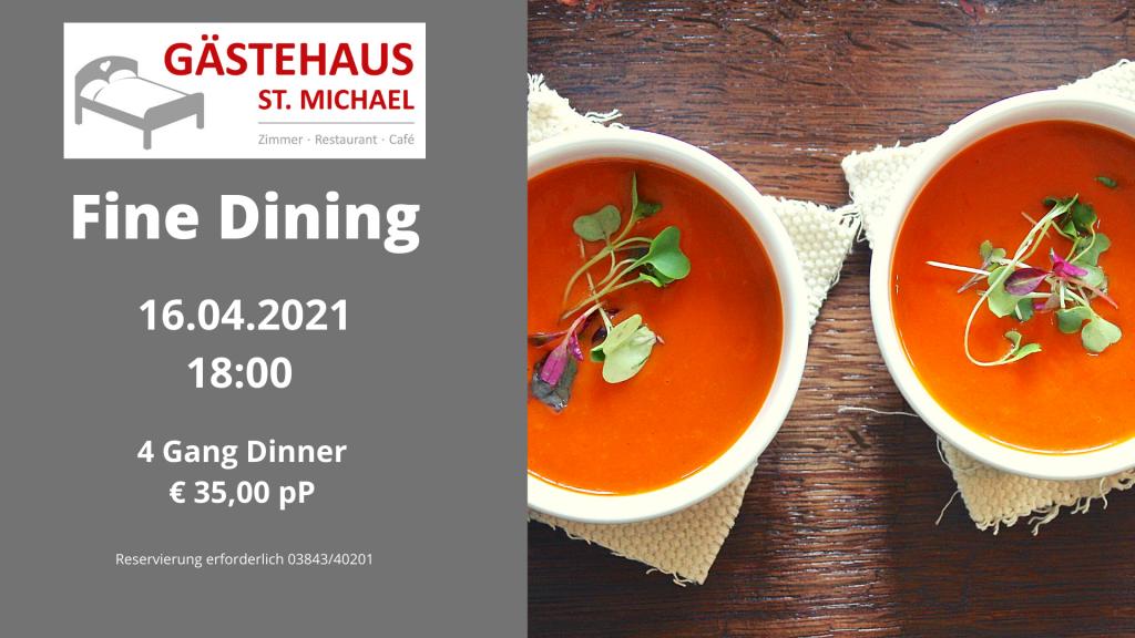 Nächste Aktivitäten: 4 Gänge Menü beim Fine Dining am 16.04.21