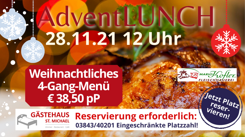 Nächste Aktivität: weihnachtlich elegantes 4-Gang-Menü beim AdventLUNCH am 28.11.21